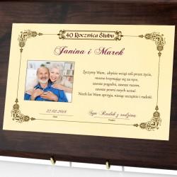 dyplom z nadrukiem imion i zdjęcia na prezent na rocznicę ślubu