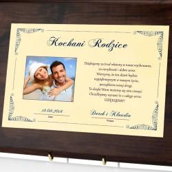 certyfikat ze zdjęciem na podziękowanie dla rodziców na ślub