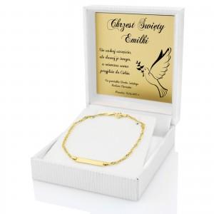złota bransoletka na chrzest dziecka