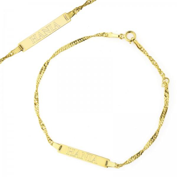 bransoletka złota w etui z grawerem imienia