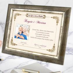 certyfikat w ramce na prezent na rocznicę ślubu