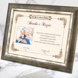 pamiątka na rocznicę ślubu certyfikat w ramce