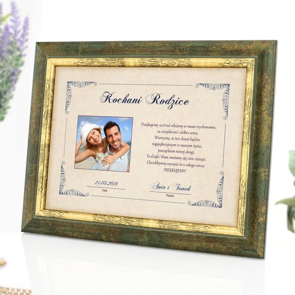 certyfikat w ramce ze zdjęciem na podziękowanie dla rodziców