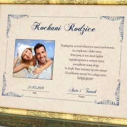 dyplom dla rodziców z personalizajcą na podziękowanie ślubne