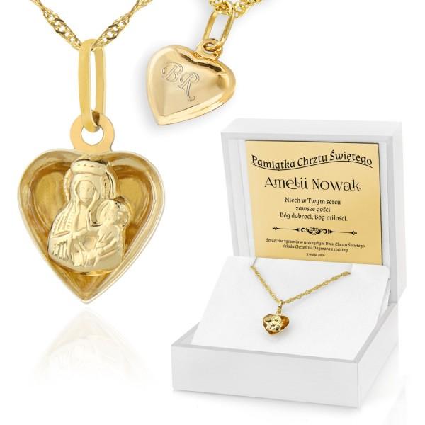 złoty łańcuszek z medalikiem dla dziewczynki na chrzest