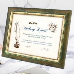 prezent dla wychowawczyni na zakończenie roku dyplom w ramce z personalizacją