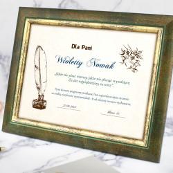 certyfikat z imieniem i dedykacją na prezent na wychowawczyni