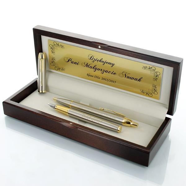 zestaw parker: długopis i pióro w drewnianym etui