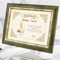 drewniana ramka z personalizacją na prezent dla babci