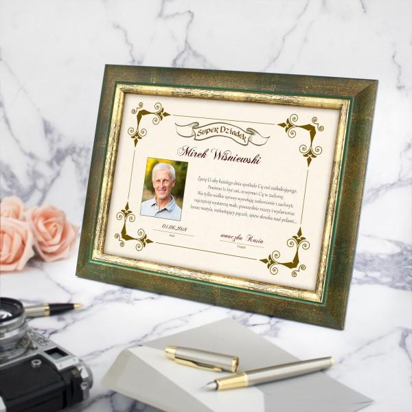 prezent na dzień dziadka ramka ze zdjęciem i dedykacją