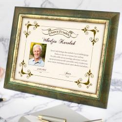 certyfikat w ramce ze zdjęciem na prezent dla dziadka