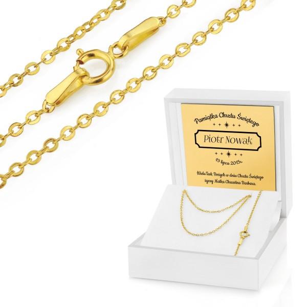 złoty łańcuszek na prezent dla dziecka na chrzest