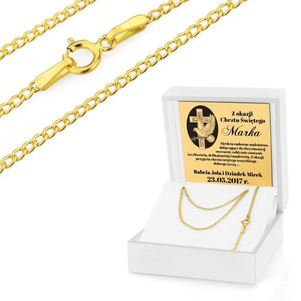 łańcuszek złoty na chrzest święty