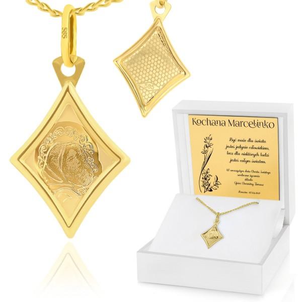 złoty medalik pr. 585 z grawerem na chrzest