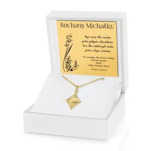pamiątka chrztu świętego złoty medalik z dedykacją