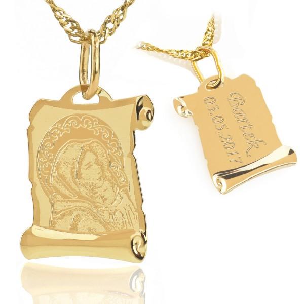 spersonalizowany medalik z łańcuszkiem
