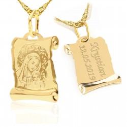 medalik złoty z grawerem