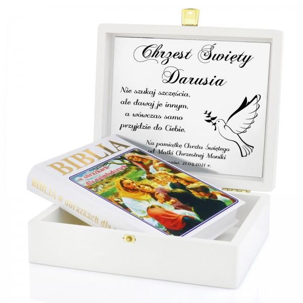 biblia w szkatułce z grawerem na chrzest