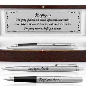 zestaw pióro i długopis parker z personalizacja na prezent