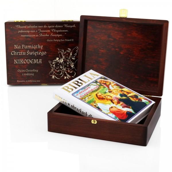 biblia dla dzieci w drewnianej szkatułce