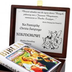 biblia w pudełku na pamiątkę Chrztu