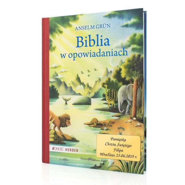 biblia z dedykacją na prezent na chrzciny