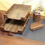drewniany komplet na biurko