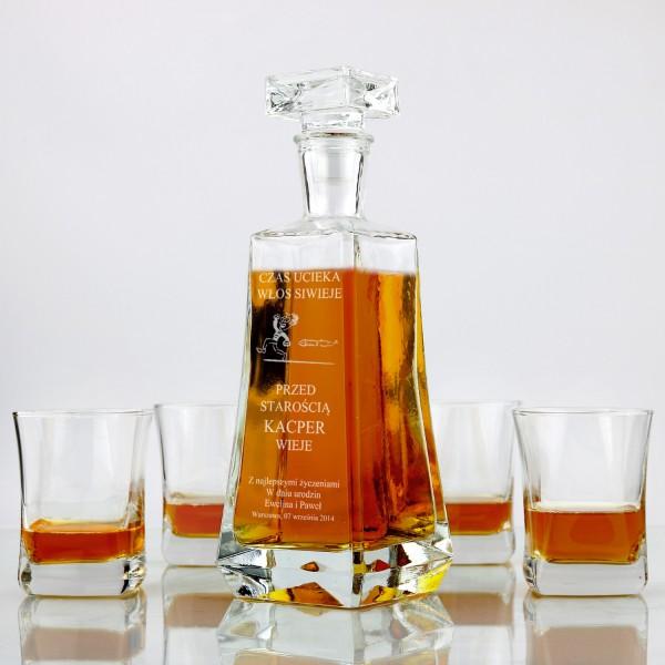 zestaw do whisky: karafka + 4 szklanki