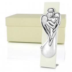 ]anioł stróż srebrny na drewnie na prezent