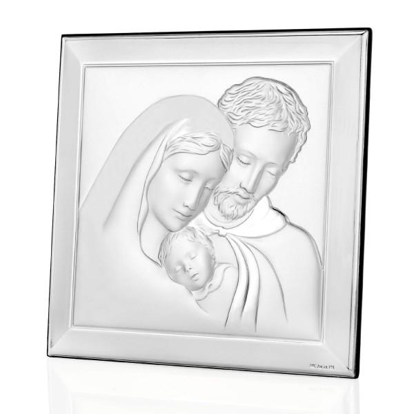 srebrny obrazek z grawerem na pamiątkę chrztu