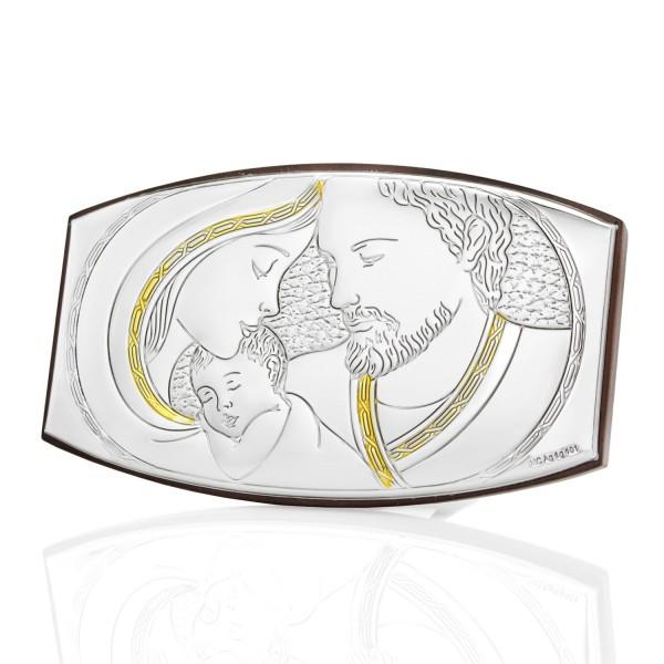 srebrny obrazek święta rodzina na prezent