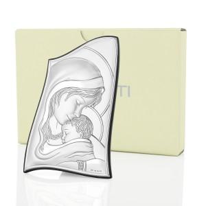 srebrny obrazek matki boskiej na upominek