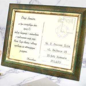 pocztówka w ramce z dedykacją na prezent