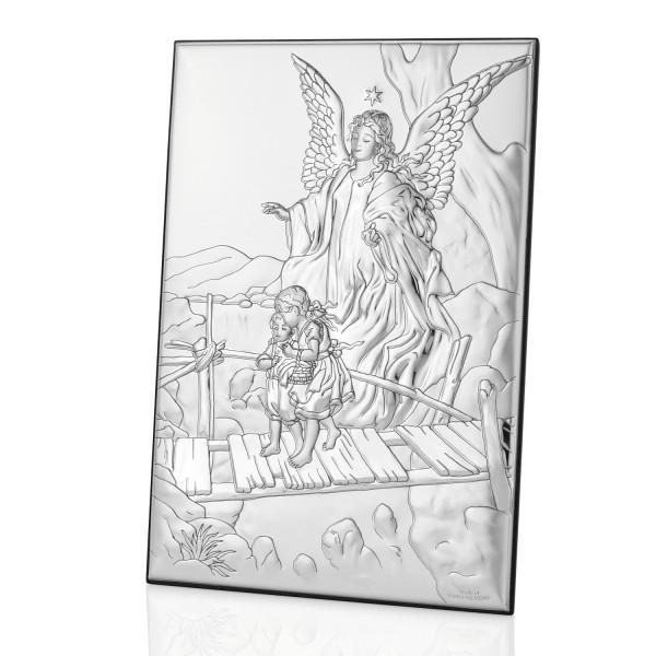 pamiątka chrztu świętego srebrny obrazek anioł stróż