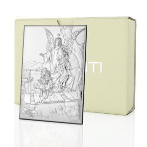 srebrny obrazek anioł stróż na prezent dla dziecka
