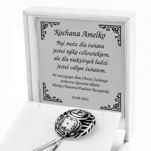srebrna grzechotka miś z grawerem na pamiątkę chrztu