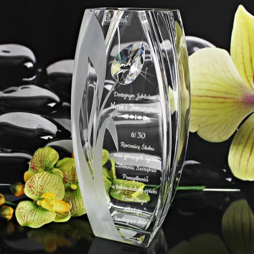 Wazon z kryształem Swarovski (32 cm) na prezent dla babci + opcja graweru dedykacji