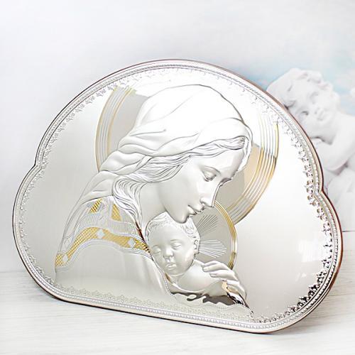 Obraz Matka Boska (44x32,5cm) - prezent na chrzciny z opcją graweru