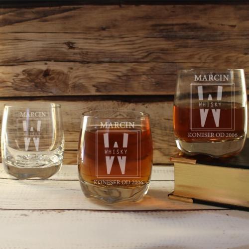 Elegancki zestaw 3 szklanek do whisky z grawerem - prezent dla męża na Mikołajki