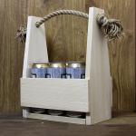 drewniana skrzynka na 6 butelek lub puszek piwa