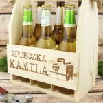 drewniana skrzynka na piwo z imieniem apteczka na prezent