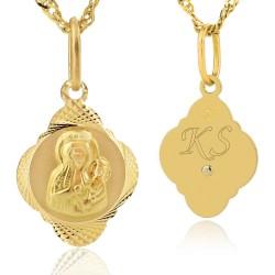 złoty medalik z matką boską i grawerem