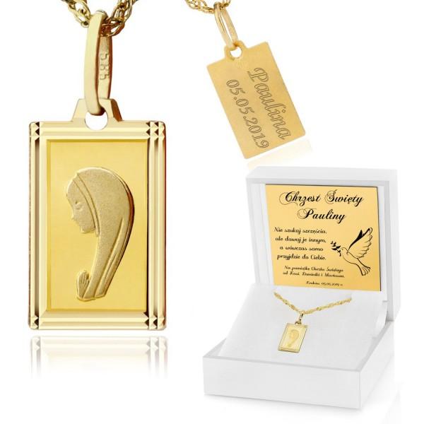 złoty łańcuszek z medalikiem w białym pudełku z grawerem
