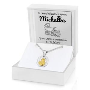srebrny naszyjnik na pamiątkę chrztu z grawerem