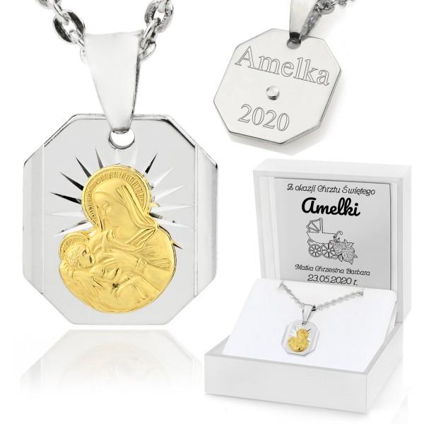 srebrny medalik z matką boską na chrzest