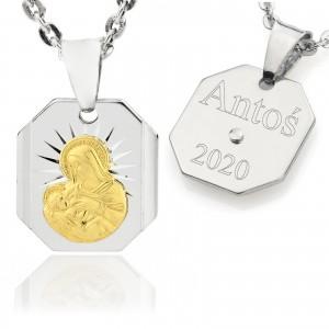 srebrny medalik na chrzest z grawerem dla chłopca