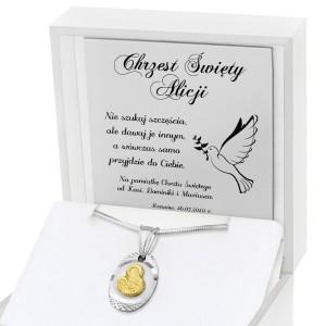 srebrny medalik na komunię z grawerem