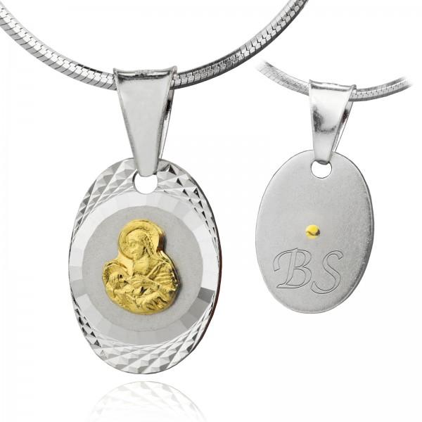 srebrny medalik z łańcuszkiem pr. 925 z grawerem dedykacji