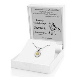 medalik srebrny z grawerem na chrzest dziecka