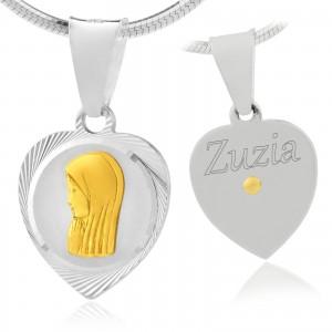 srebrny medalik z grawerem na chrzest dla dziewczynki